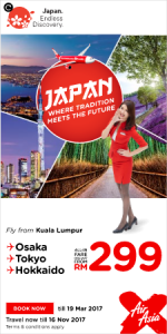 AirAsia Fly from Kuala Lumpur to Japan March 2017 - Japan Promo