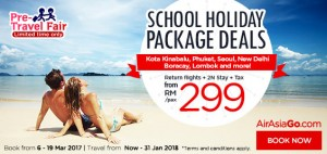 AirAsia Promotions From Kuala Lumpur March 2017 -school package