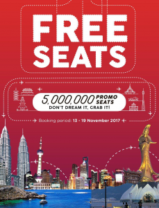 AirAsia Free Seats! November 2017 Promotion - AirAsia Free Seats Zero Fares Flight Ticket Discount Offer Promo