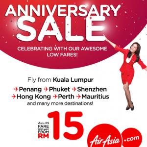 AirAsia Anniversary Sale 2017 - AirAsia RM15 Tickets