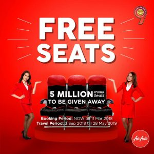 AIRASIA FREE SEATS MARCH 2018 PROMOTION - free seats 2018