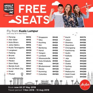 AIRASIA FREE SEATS MAY 2018 - Half A Billion Promotion