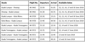 AIRASIA BALIK RAYA FLIGHTS 2018 - Flights Within Peninsular Malaysia