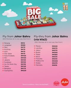 AirAsia BIG SALE 2019 Fly From Johor Bahru