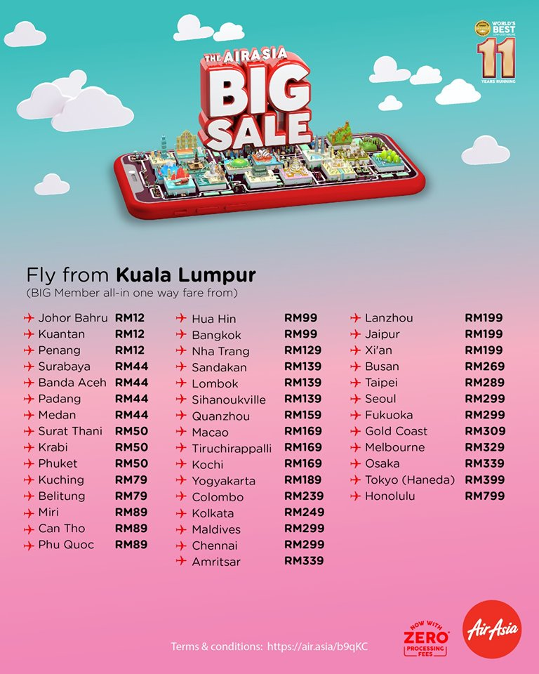 AirAsia BIG Sale 2019 Fly From Kuala Lumpur