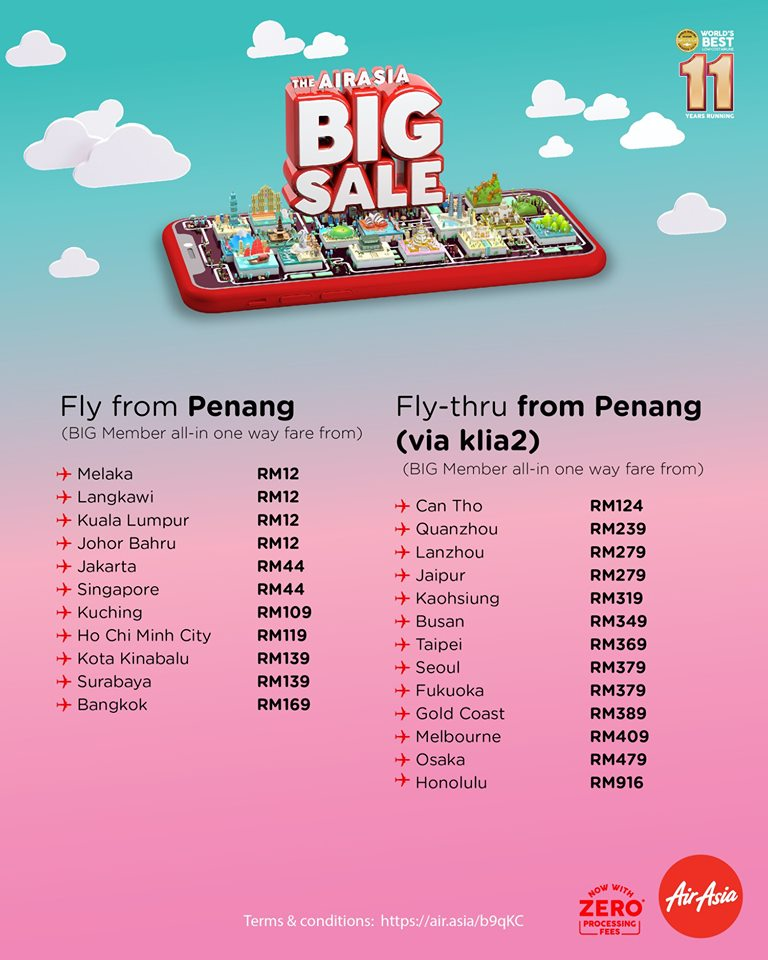 AirAsia BIG SALE 2019 Fly From Penang